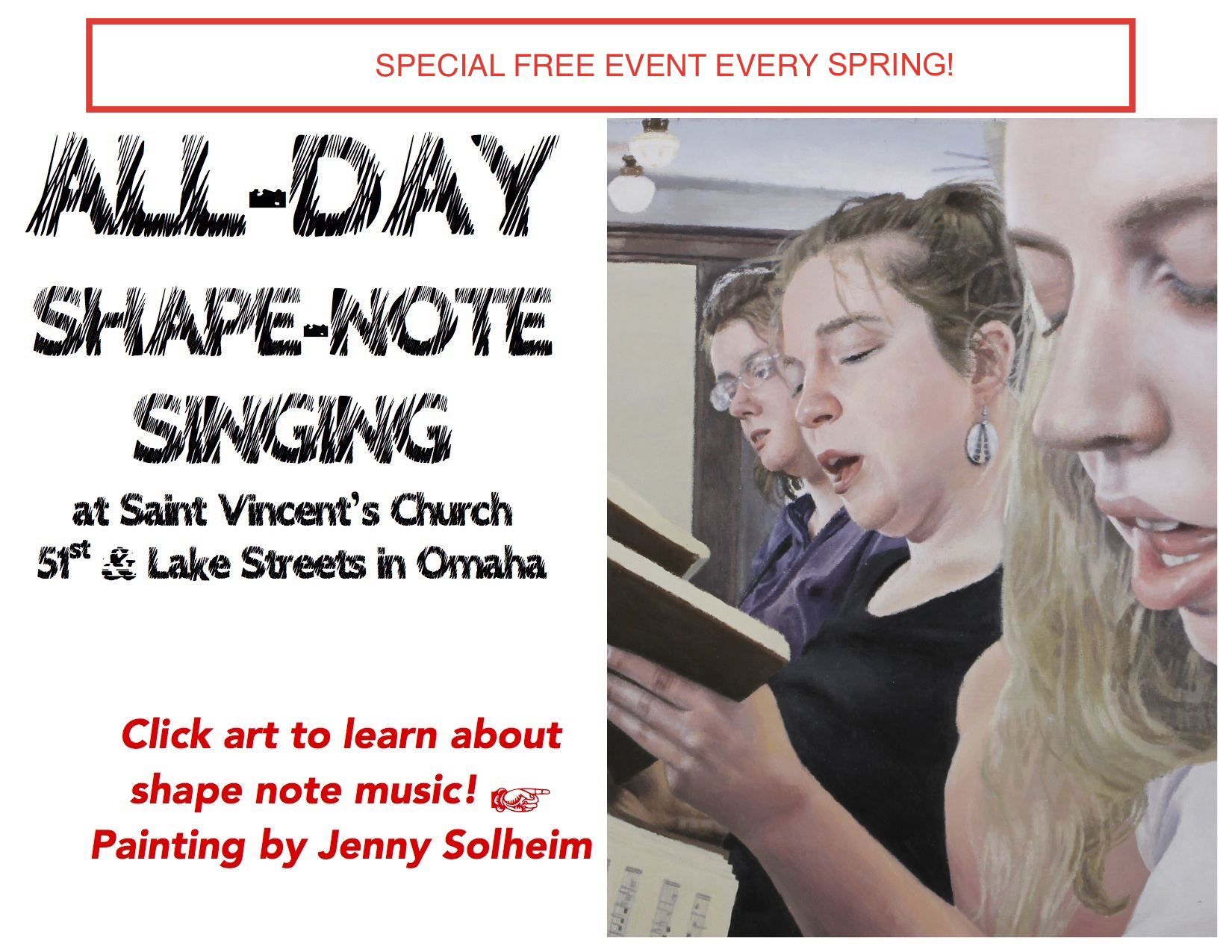 All-Day Shape-Note Singing!  April 8, 2017, at 10 am, 51st and Lake Streets in Omaha!